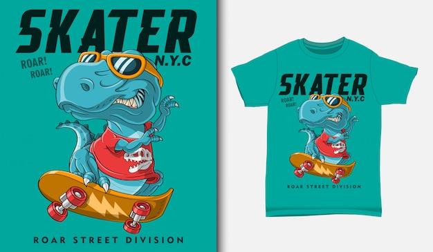 Cool dinosaur playing skateboarding illustration with t-shirt design, hand drawn