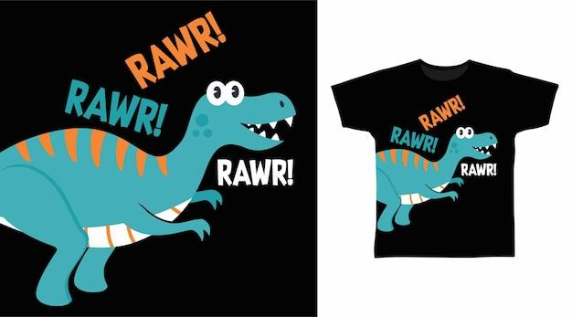 Прохладный динозавр rawr для дизайна футболки
