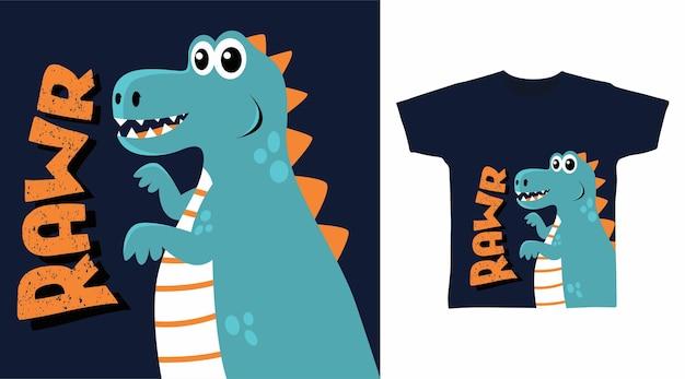 Крутой дизайн футболки с динозавром rawr