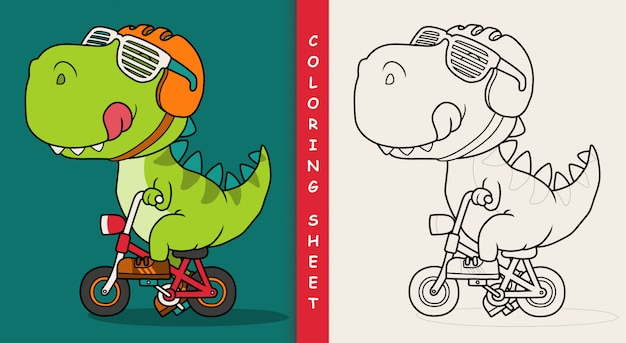 Cool dinosaur riding a bicycle. coloring sheet.
