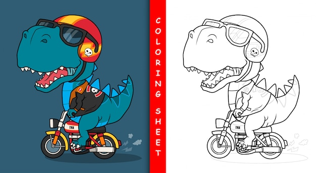 Cool dinosaur riding a motorcycle