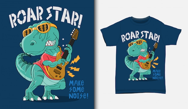 Cool dinosaur rock star illustration with t-shirt design, hand drawn