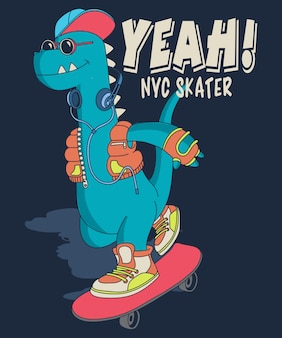 Cool dinosaur skateboarding