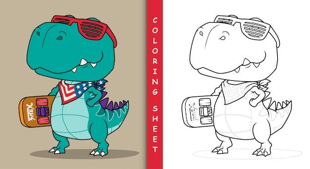 Прикольный динозавр со скейтбордом.