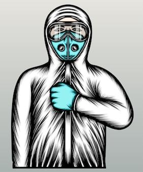 化学防護服を着たクールな医者