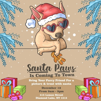 Cool dog with glasses santa paws event christmas day