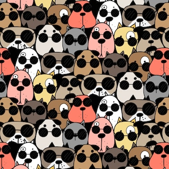 Cool Dogs Pattern Background.