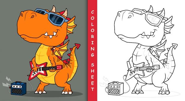 Cool dragon playing guitar