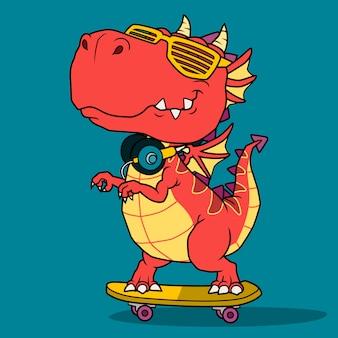 Крутой дракон играет на скейтборде.