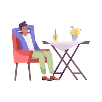 Cool drink flat composition with man sitting at restaurant table with cocktail drink
