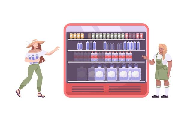 ボトルと女性が付いている広い冷蔵庫が付いている冷たい飲み物の平らな構成