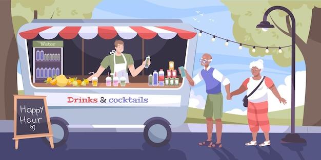 Плоская концепция улицы прохладных напитков с пожилой парой, покупающая бутылку воды в продовольственном грузовике