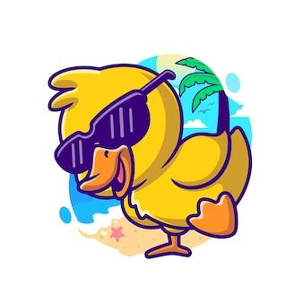 クールなアヒル夏漫画ベクトルアイコンイラスト。動物の休日のアイコンの概念は、プレミアムベクトルを分離しました。フラット漫画スタイル