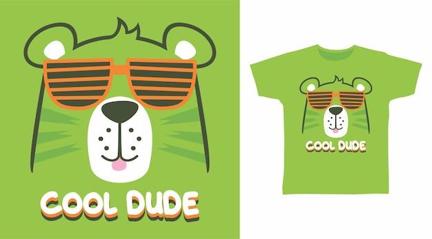 안경 t 셔츠 디자인으로 멋진 친구 귀여운 곰