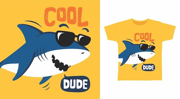 Cool dude shark t shirt design concept