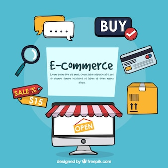 Cool e-commerce concept with hand drawn style