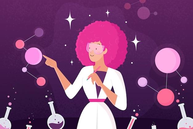 Прохладный женский ученый иллюстрация