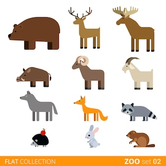 クールなフラットデザインのトレンディなスタイルの動物のアイコンセット。フラット動物園の子供たちの野生の農場の家畜漫画コレクション。ヌートリアクマdoe鹿イノシシラムヤギオオカミキツネアライグマハリネズミウサギうさぎnutria。