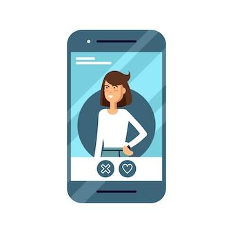 ユーザーとデートするオンラインアプリケーションでフラットにクール。さまざまなアイコンが表示された出会い系サイトの携帯電話。