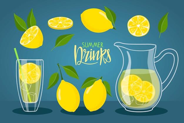 ガラスピッチャーとガラス容器のクールな新鮮なレモネードとレモネードとレモン夏の飲み物のテキスト