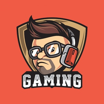 Cool gamer character head vintage logo