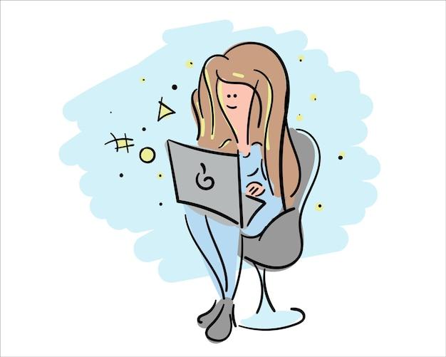 노트북 벡터 일러스트와 함께 멋진 소녀입니다. 학교 교육 개념을 위한 스케치 아트 디자인.