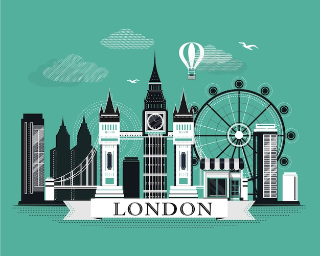 Cool graphic london city skyline poster with retro looking detailed  elements.   landscape with landmarks.