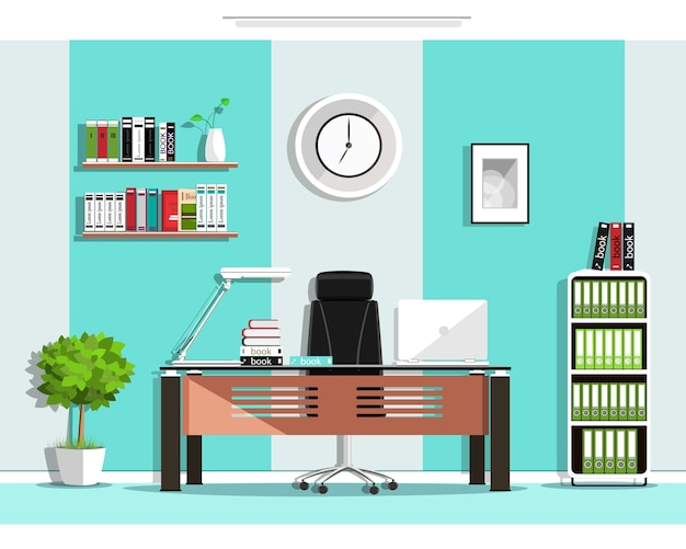 クールなグラフィックオフィスルームインテリア家具:椅子、テーブル、本棚、棚、ランプ。図