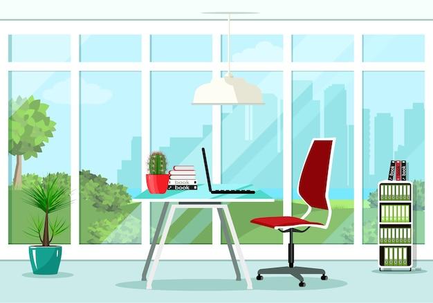 의자, 테이블, 책장, 램프와 같은 멋진 창문과 가구가있는 멋진 그래픽 사무실 룸 인테리어. 삽화.
