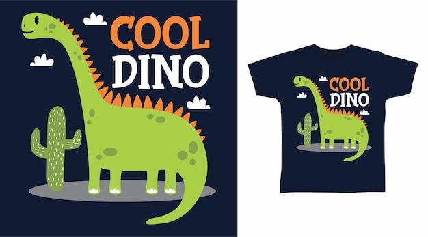 Крутой зеленый дизайн футболки с динозавром