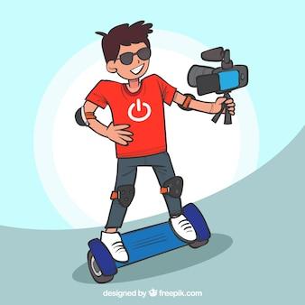 電動スクーターに乗ってクールな男