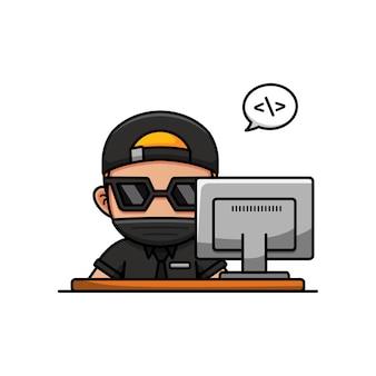그의 컴퓨터 앞에서 일하는 멋진 남자