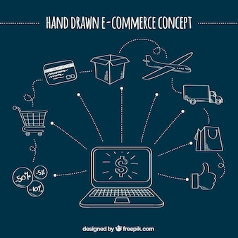 Cool hand drawn e-commerce concept