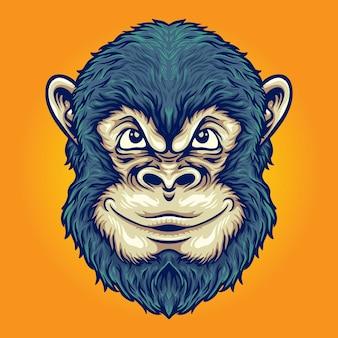 작업 로고, 마스코트 상품 티셔츠, 스티커 및 라벨 디자인, 포스터, 인사말 카드 광고 비즈니스 회사 또는 브랜드를 위한 멋진 머리 원숭이 사고 벡터 삽화.