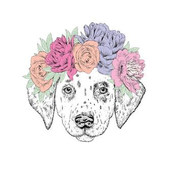 花の花輪のクールな流行に敏感な犬。