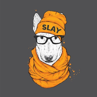 Cool hipster dog in stylish clothes.
