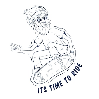 Cool hipster jumping on the skateboard with hand drawing style