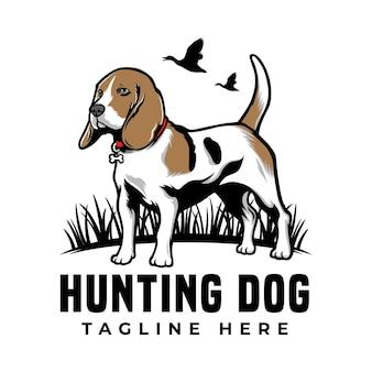 クールな狩猟犬ビーグル ペット ロゴ分離された白