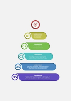 Cool infographic design in the form of a pyramid with five steps with numbers