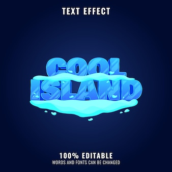 Cool island snow ice winter game logo title text effect