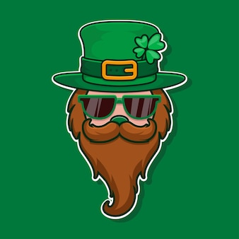 Cool leprechaun with glass, mustache and hat with clover. feast of saint patrick.