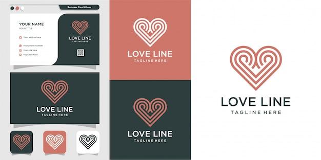 クールなラインアート愛のロゴと名刺デザイン。ライン、ラインアート、モダン、クリーン、フレッシュ、クール、アイコンプレミアム