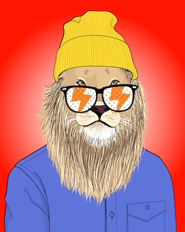 Cool lion illustration