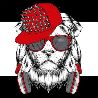 Cool lion wearing glasses headphones and a cap