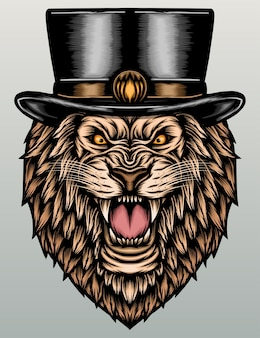 Cool lion with top hat.