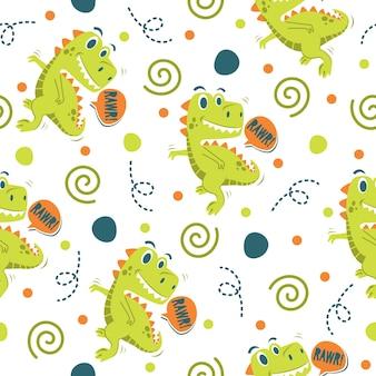 Cool little dinosaur pattern illustration design Premium Vector