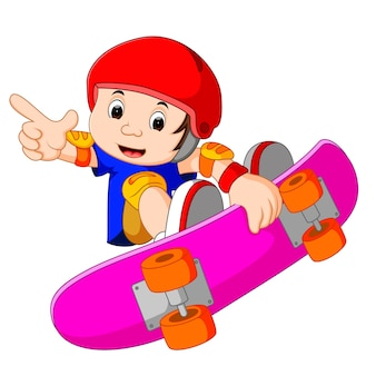 極端なスタントをやっているクールな小さなスケートボードの男