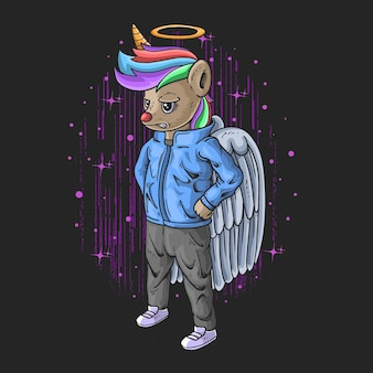Cool little unicorn angel with casual clothes illustration on black background with pink stars