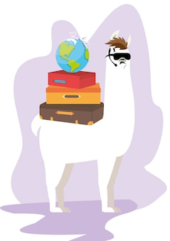 Cool llama agent with a pile of suitcases.