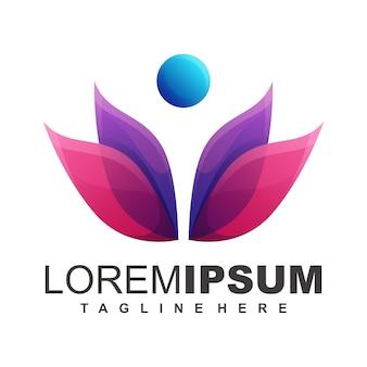 Cool lotus logo design vector